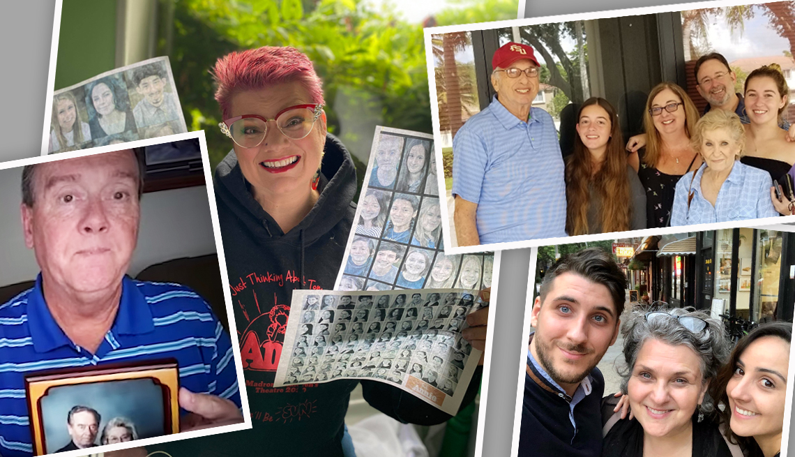 A collage of images of families