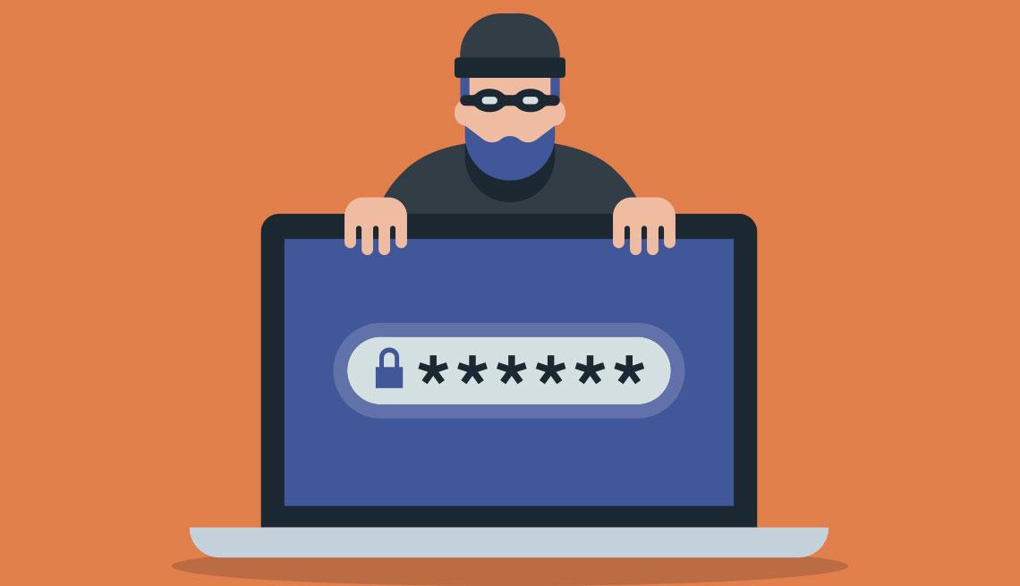 Ilustración de un ladrón detrás de una computadora con una contraseña en la pantalla.