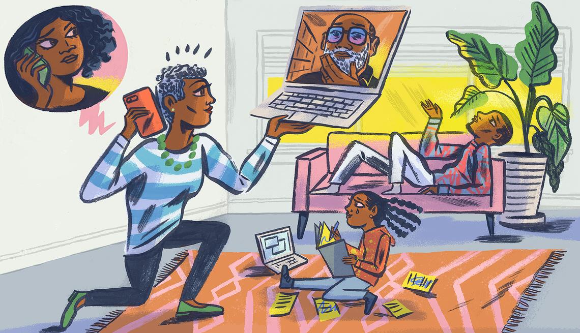 Ilustración de una persona que intenta equilibrar las necesidades de toda una familia
