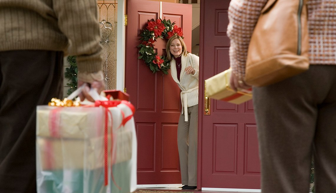 Opening door to house guests