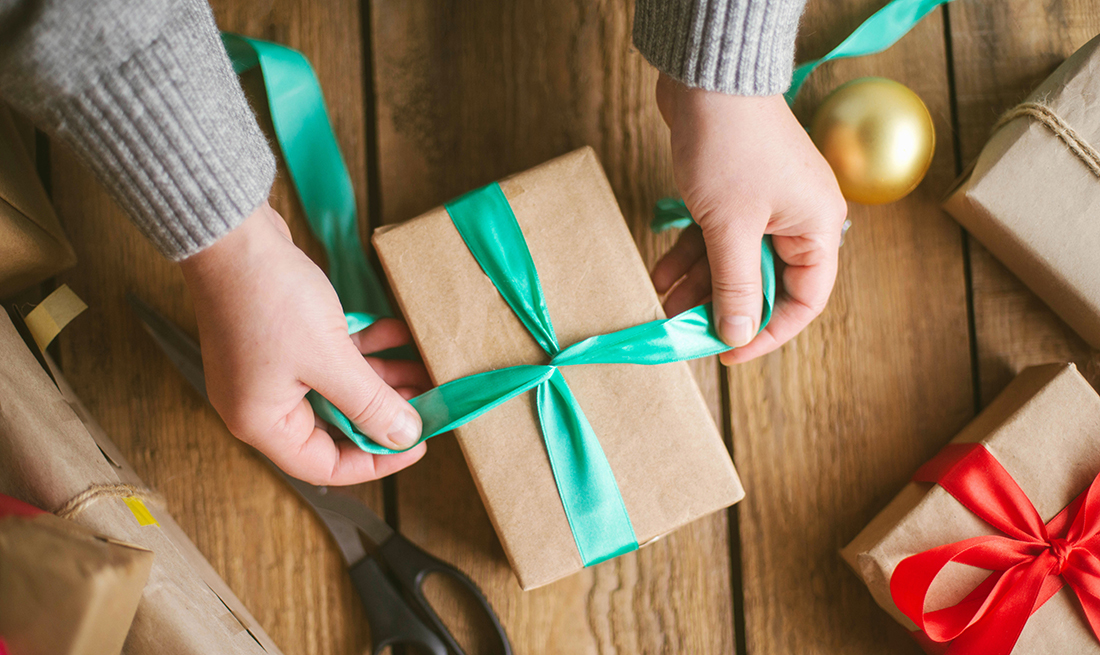 Wrapping a holiday gift