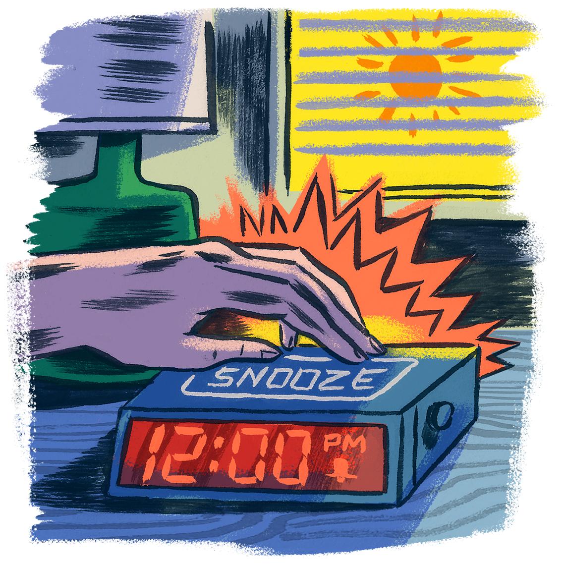 Ilustración de una mano presionando el botón de repetición de un despertador