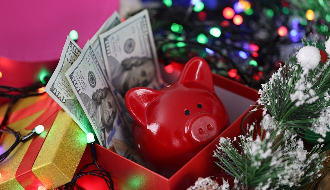 Holiday gifts, money, savings plan concept