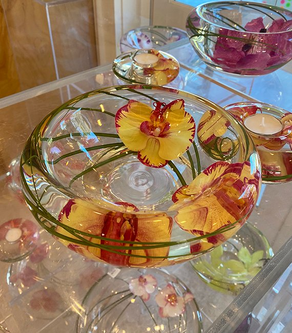 Glass art flowers with orchids