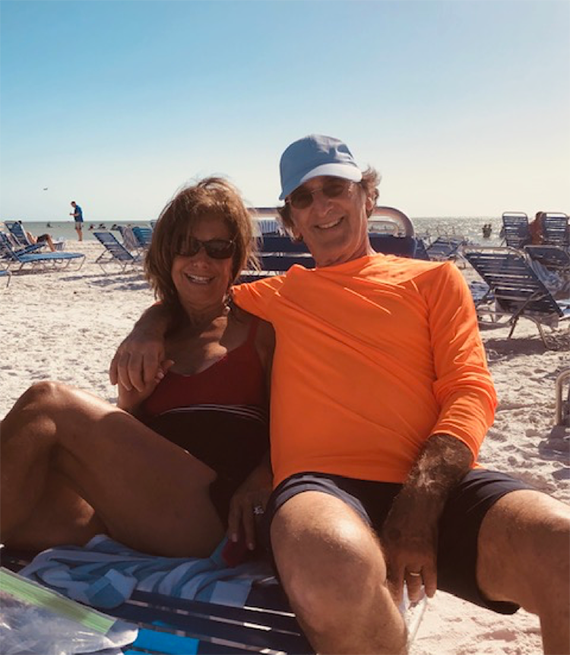 Robert and Barbara Lewy, on the beach in Naples, Florida.