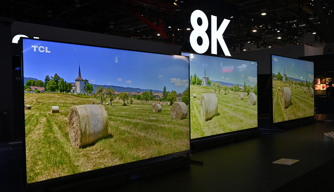 Televisions featuring 8K technology are displayed at the TCL booth during CES 2020 at the Las Vegas Convention Center on January 7, 2020 in Las Vegas, Nevada. CES, the world's largest annual consumer technology trade show, runs through January 10