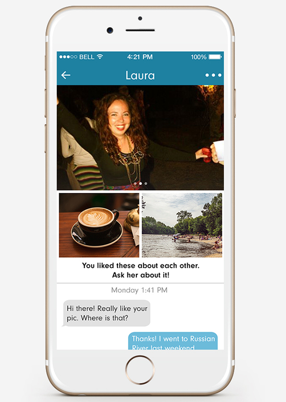 Una captura de pantalla del perfil de una mujer en una aplicación de teléfono inteligente
