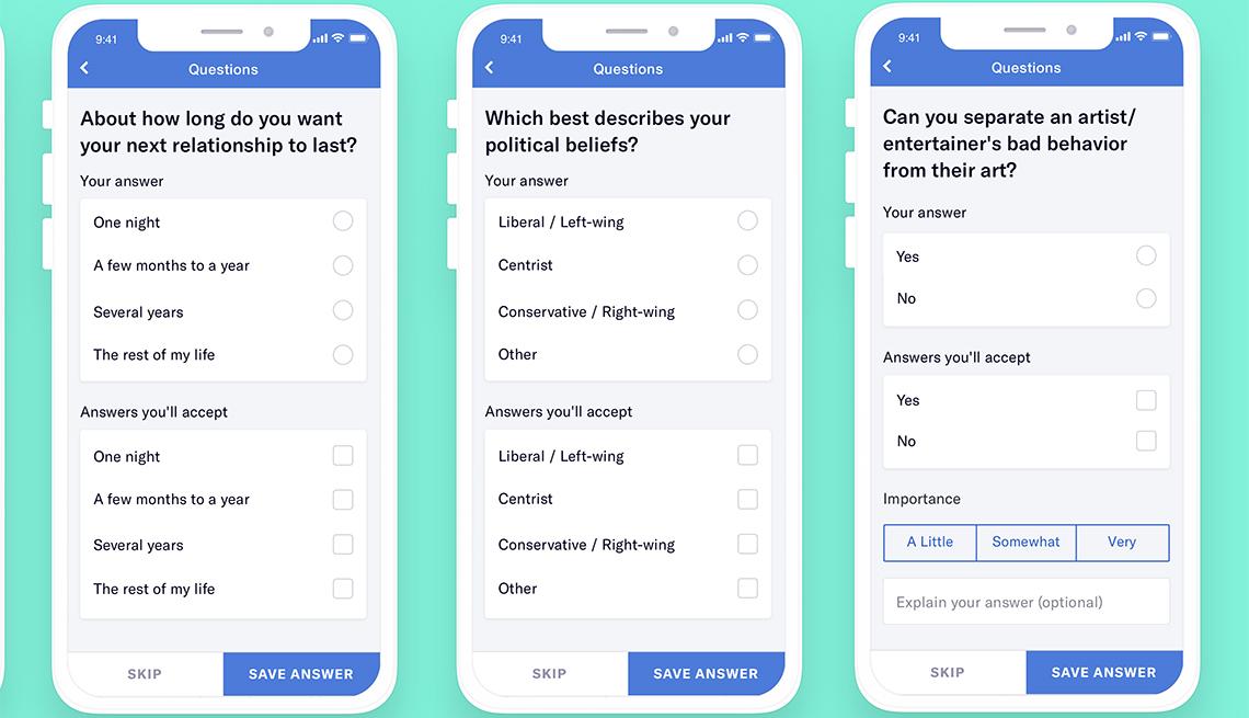 Capturas de pantalla de preguntas en la aplicación OKcupid
