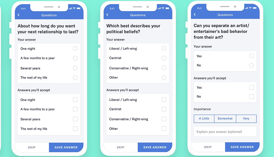 Screenshots of questions on OKcupid app