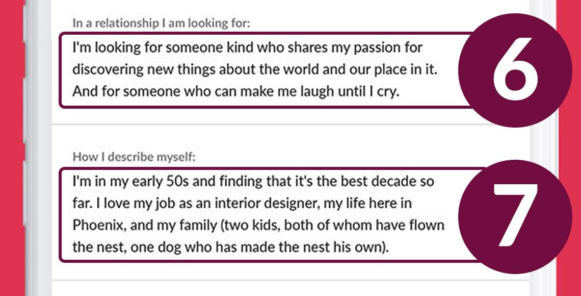 Perfil de citas que muestra cómo decir lo que quieres en una relación