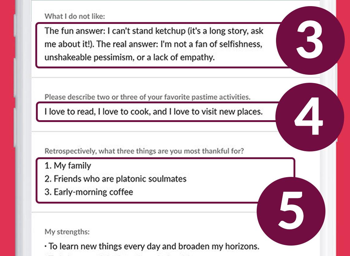 Ejemplo de perfil de citas que muestra buenas maneras de usar la seriedad y ser conciso