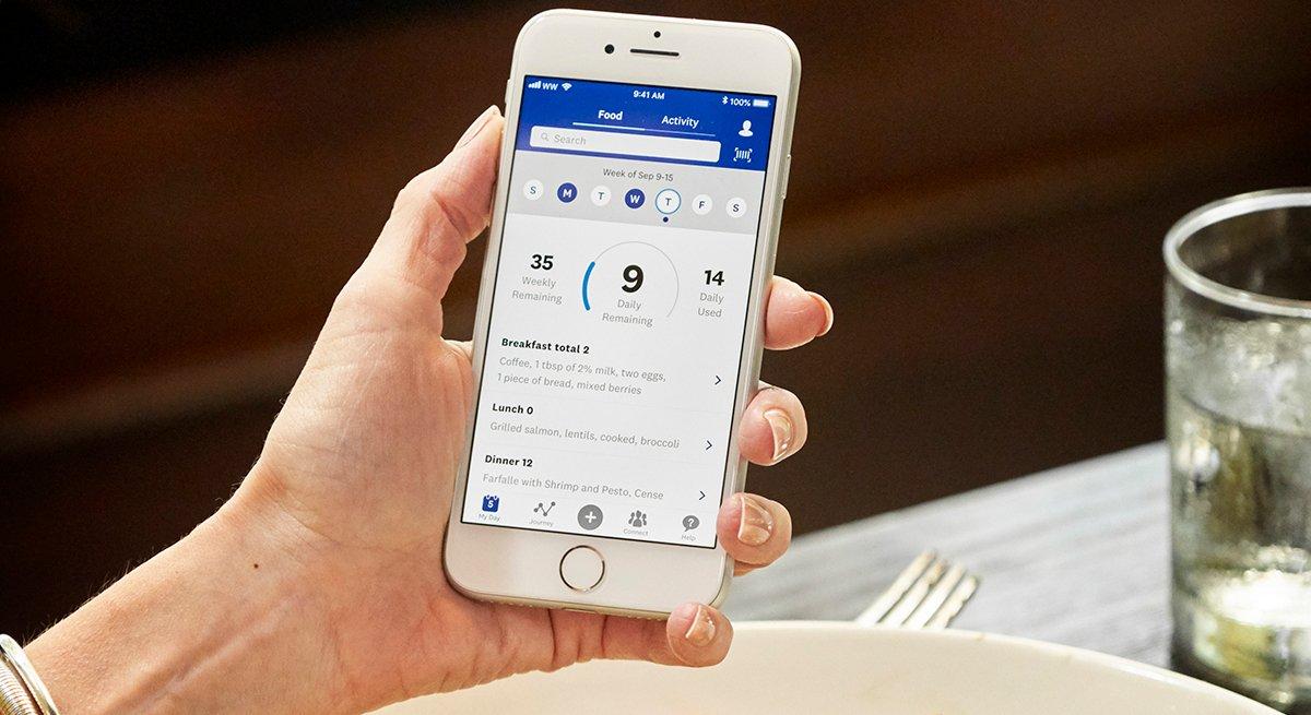Imagen en la pantalla de un teléfono de la aplicación Weight Watchers