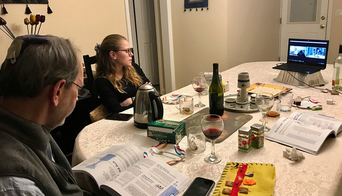Andrew Silow-Carroll and daughter Kayla connected with extended family on Zoom during Passover 2020.