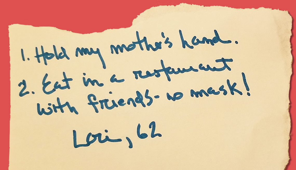 item 9 of Gallery image - lori age sixty two would love to hold her mothers hand and eat in a restaurant with friends without a mask