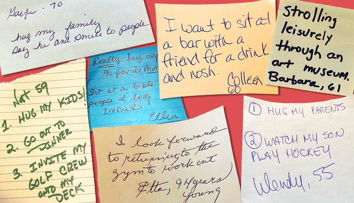 assortment of post it notes writted by readers saying what they wish to do after the pandemic ends these include hugging family going out to dinner and going to the gym