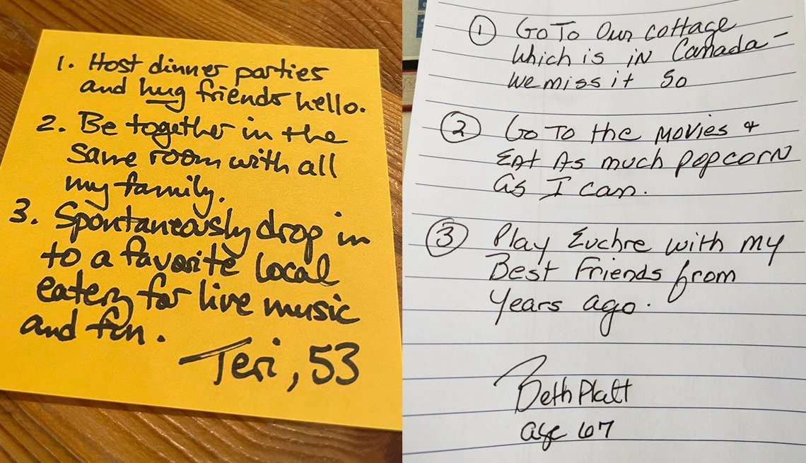 image of two handwritten notes from readers saying what they would like to do after it is safe to get back to normal
