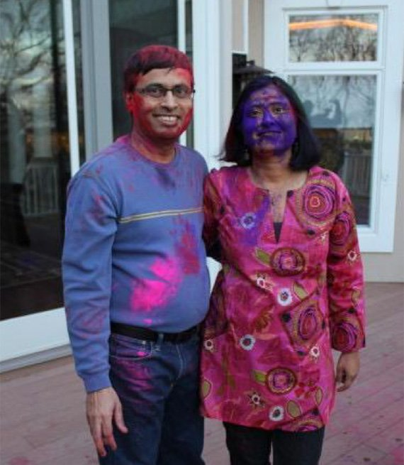 Sanwal and a friend after she threw a Holi party in her house some years ago.