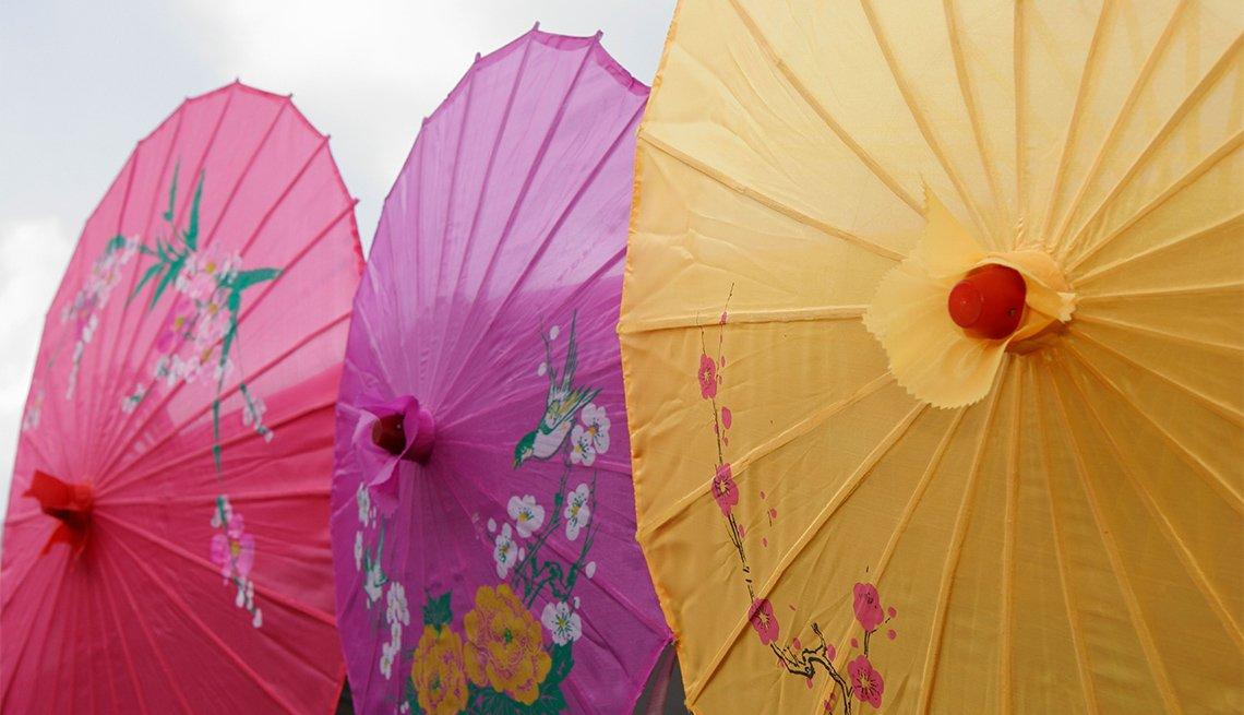 Two colorful umbrellas
