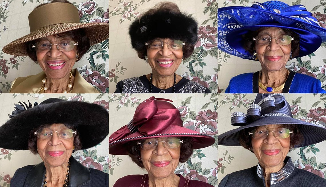 six more images of doctor laverne wimberly wearing stylish church hats and outfits