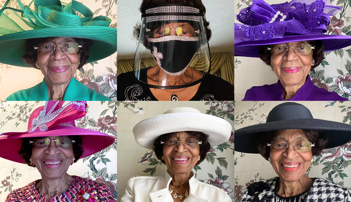 six different screenshots of doctor laverne wimberly attending virtual church services in her sunday best
