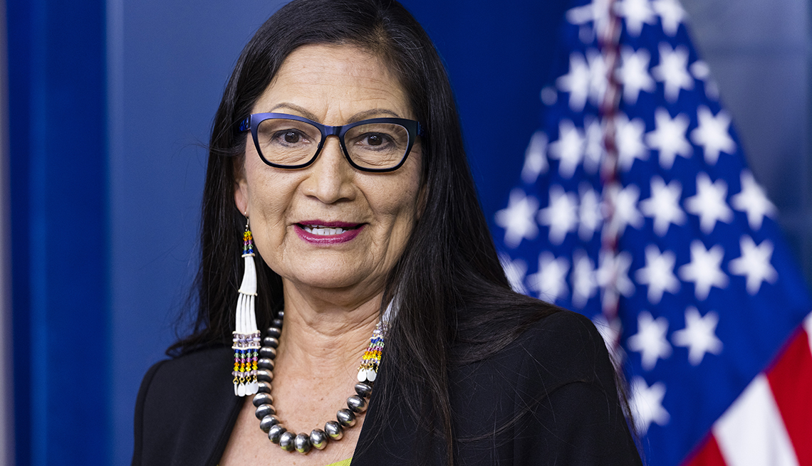 Deb Haaland, U.S. secretary of the interior, speaks during a news conference in the James S. Brady Press Briefing Room at the White House in Washington, D.C., U.S., on Friday, April 23, 2021.