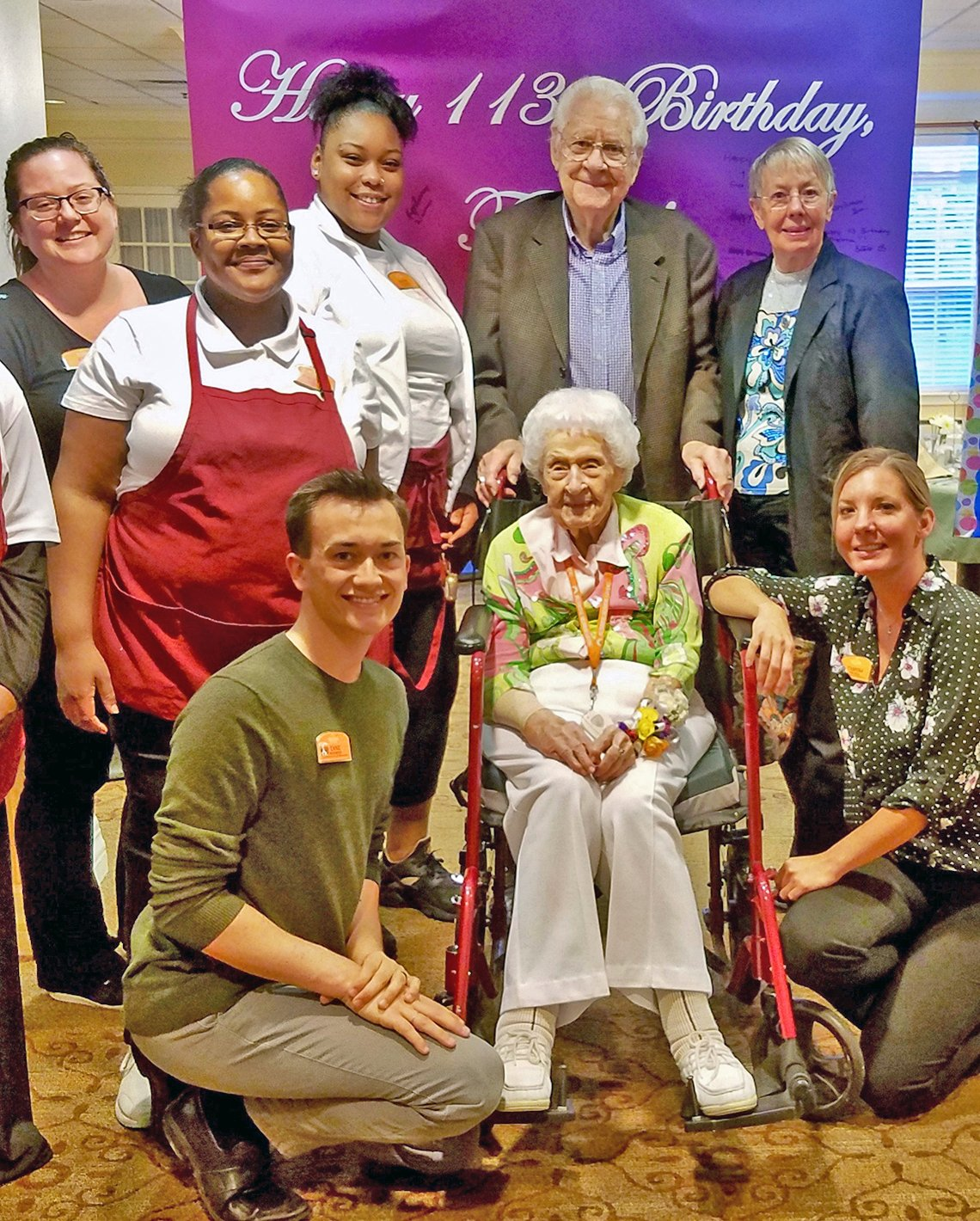 thelma sutcliffe at her one hundred and thirteenth birthday celebration surrounded my family and staff at brighton gardens senior living facility in omaha nebraska