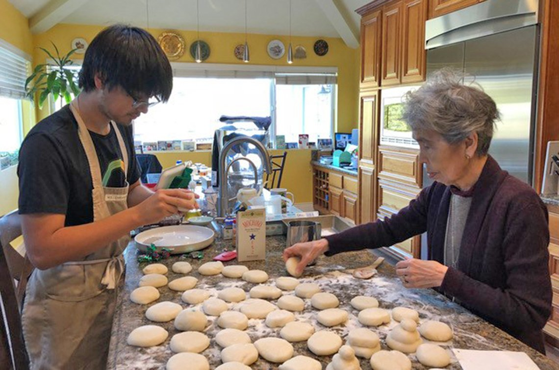 kenji forrester making mochi with his grandmother akiko