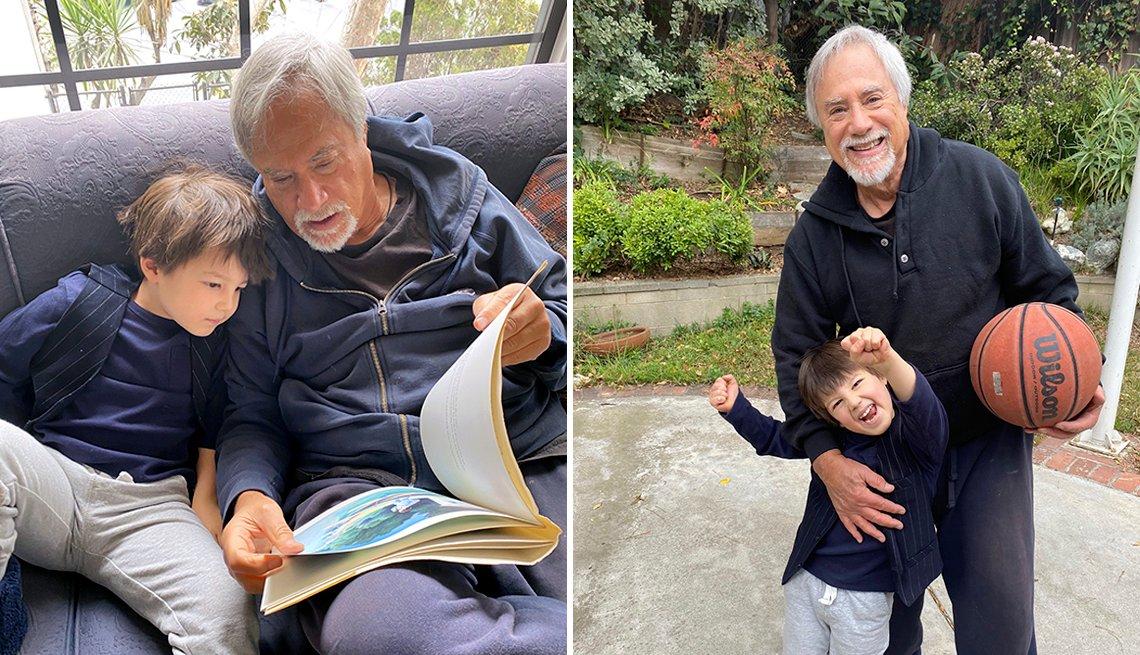Dos imágenes de Lawrence Grobel y su nieto