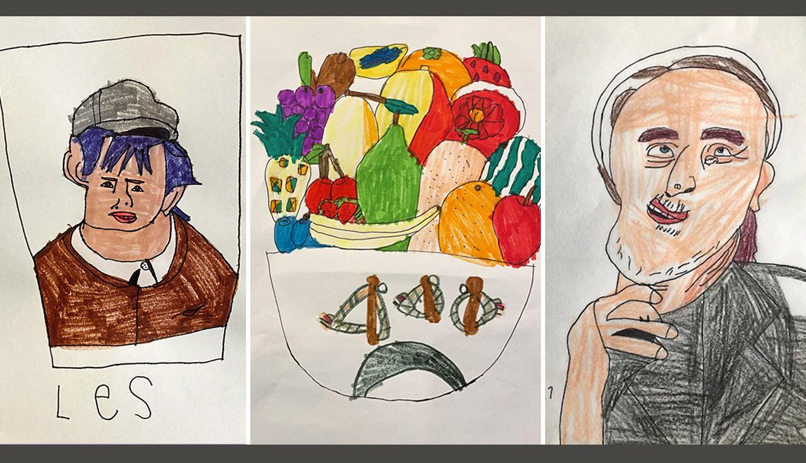 Three drawings, left to right: an image inspired by the Disney Newses musical, a fruit basket, and a portrait of Gigi.