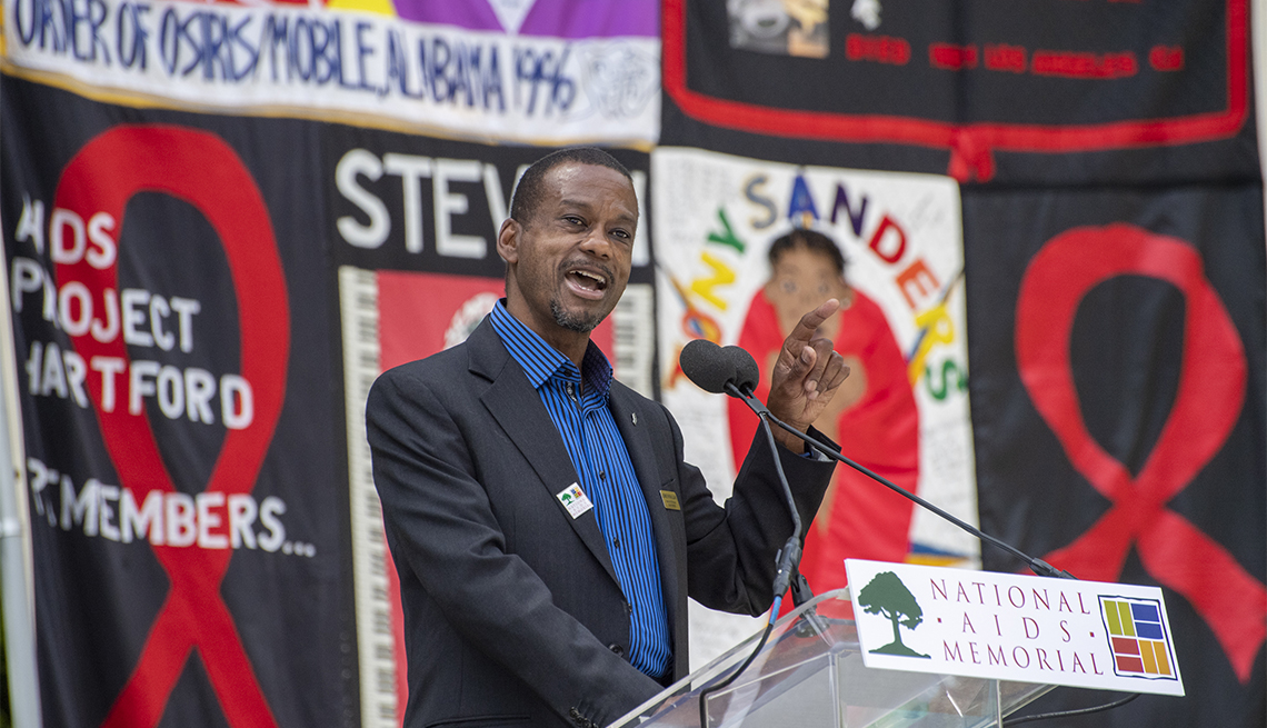 Lonnie Payne-Clark speaks at the 40th Anniversary of the AIDS Pandemic at the National AIDS Memorial Grove at Golden Gate Park in San Francisco, CA on Saturday, June 5, 2021