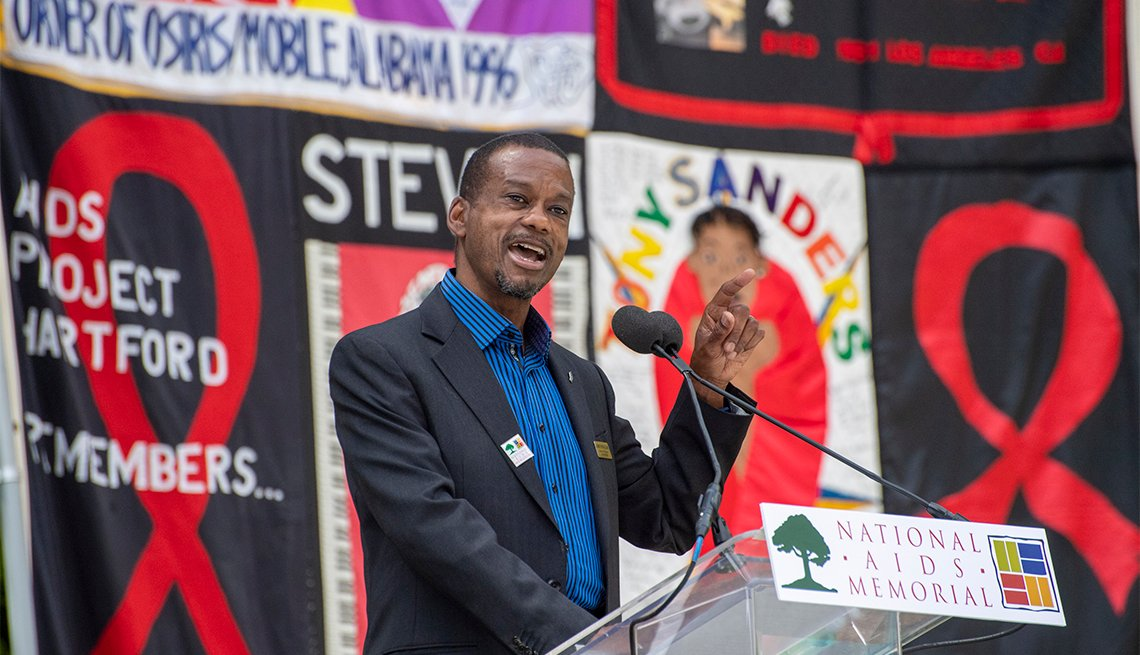 Lonnie Payne-Clark speaks at the 40th anniversary of the AIDS pandemic at the National AIDS Memorial Grove at Golden Gate Park in San Francisco, California on Saturday, June 5, 2021
