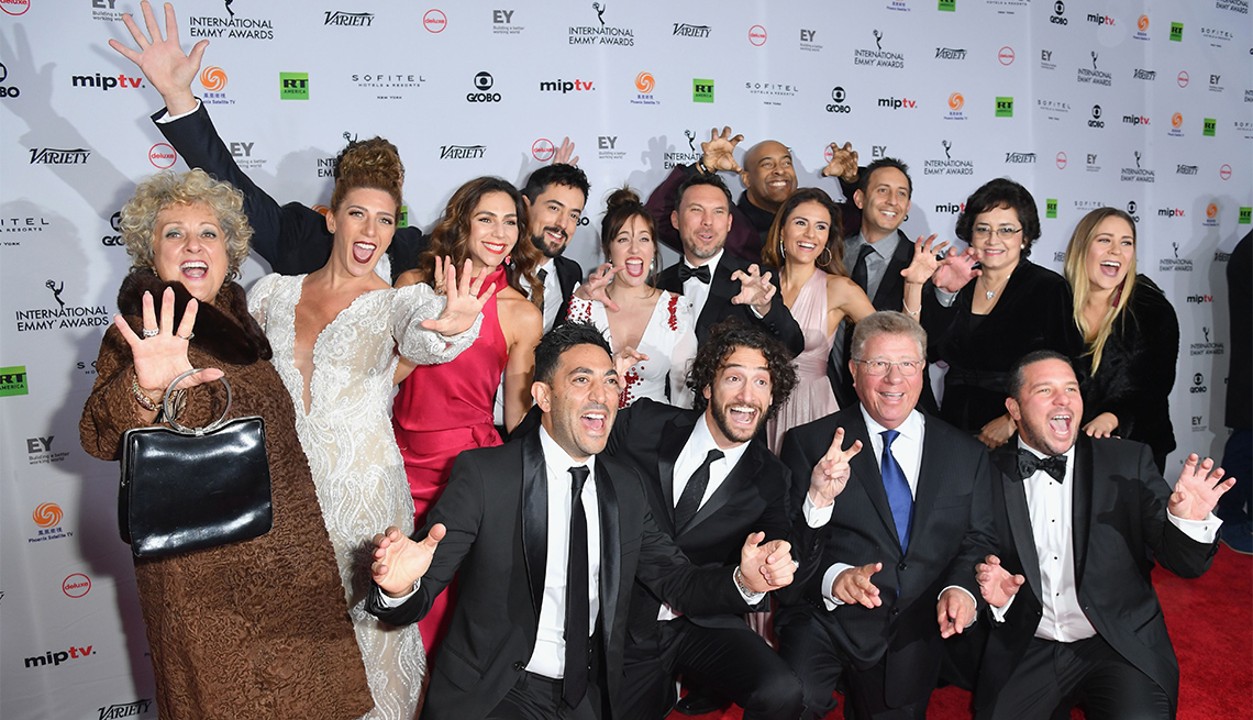 Cast and crew of 'Club de Cuervos' arrive for the 46th International Emmy awards gala