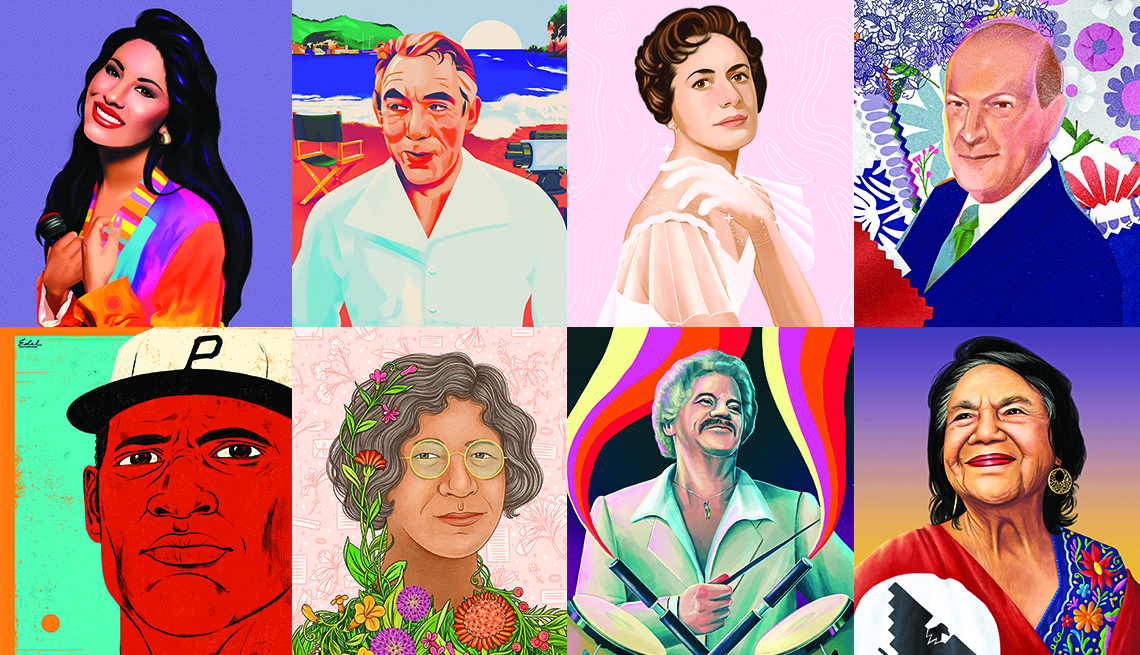 illustrated portraits of eight latin american icons who are selena anthony quinn lupe serrano oscar de la renta roberto clemente ynes mexia johnny pacheco and dolores huerta