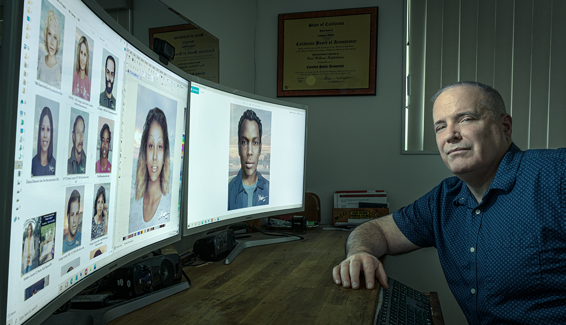 carl koppelman at home in front of his computer monitors showing his portraits of cold case remains people