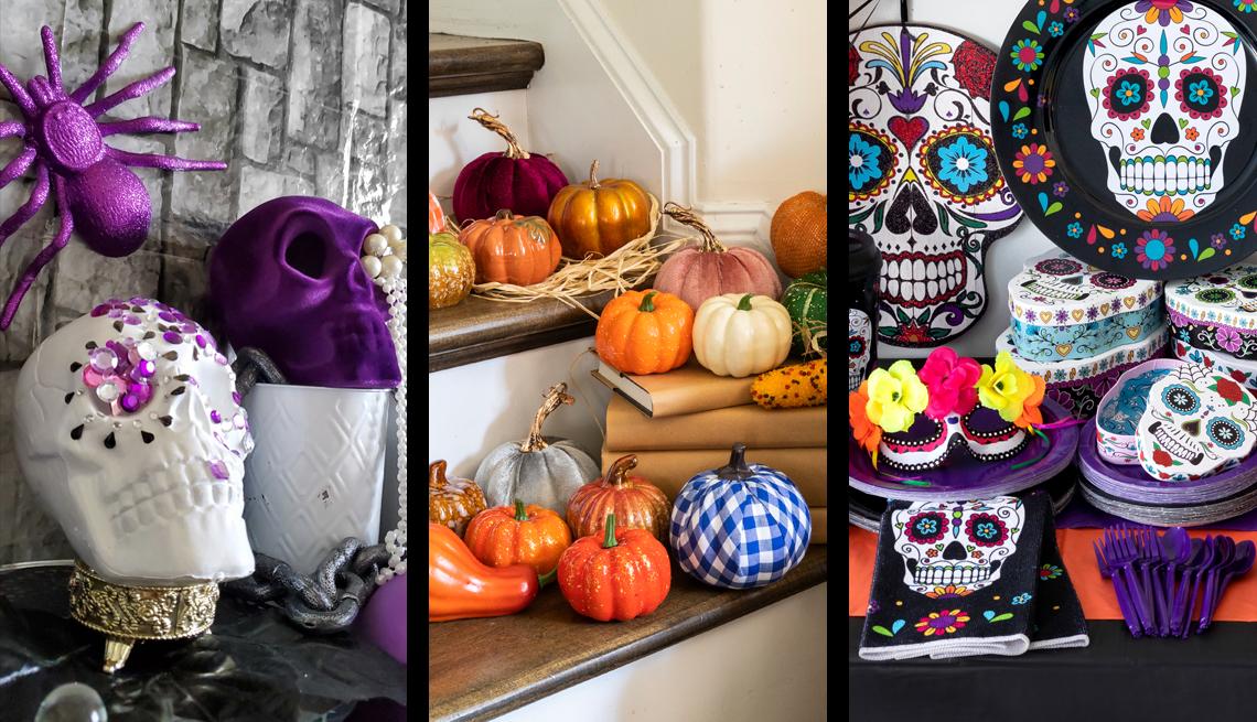 three photos of seasonal decor for halloween fall and dia de los muertos