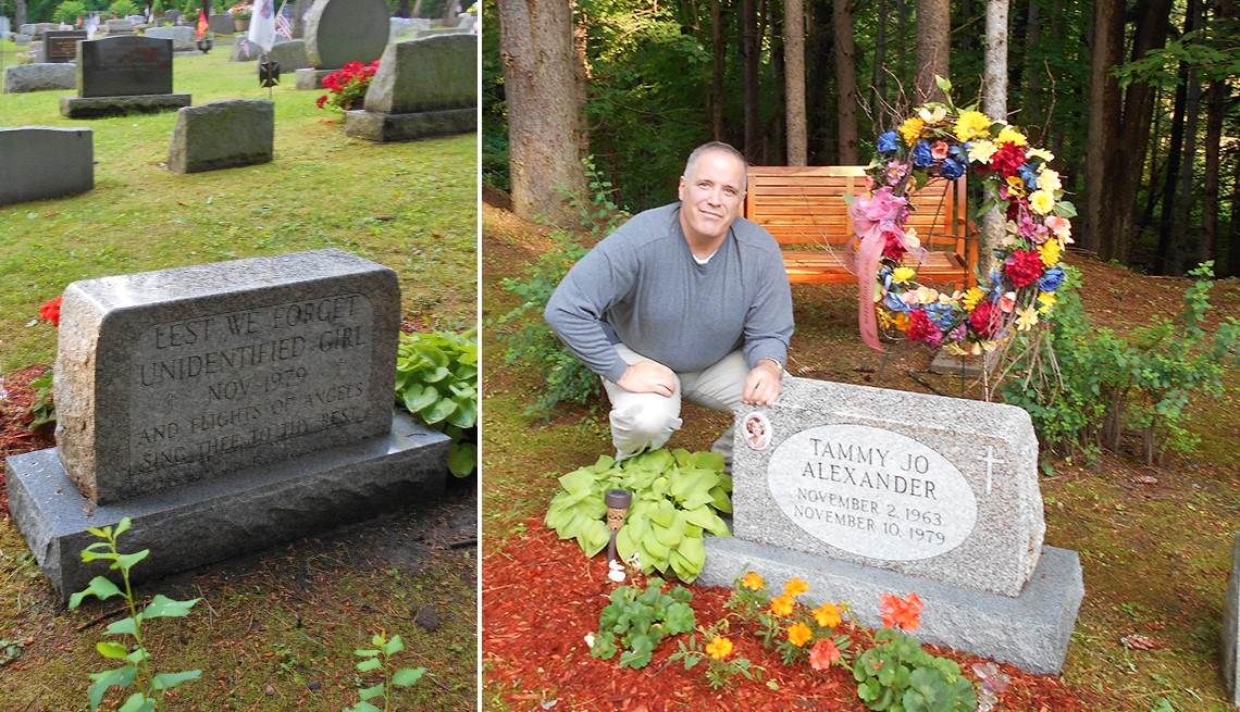 grave of unidentified girl next to a photo of carl koppelman next to her new tombstone once she was identified as tammy jo alexander