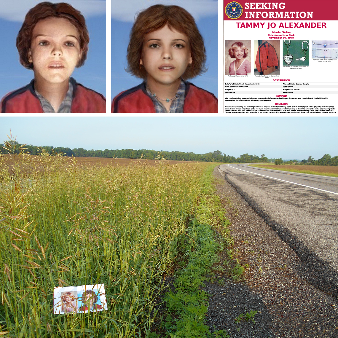renderings and a poster of tammy jo alexander and a photo of the field where her body was found