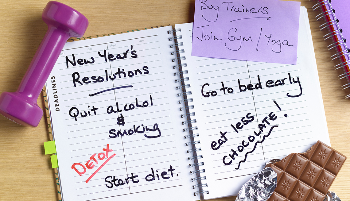New Years resolutions on a notebook
