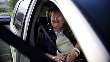 Elizabeth Bishop rides in a publicly-provided van every Thursday morning because there is no public transportation in McConnellsburg, PA