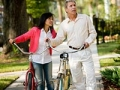 A mature couple with bikes in neighborhood, Livable communities