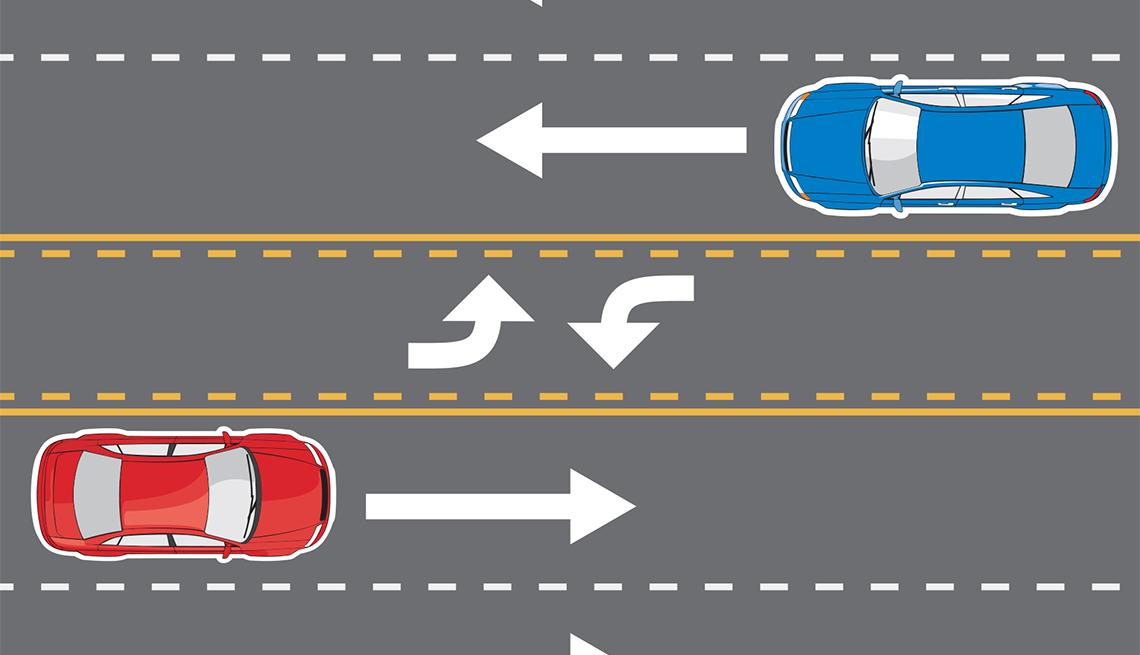 Dos autos transitan por una vía y en el carril del medio se puede ver la señal de cruce en ambos sentidos