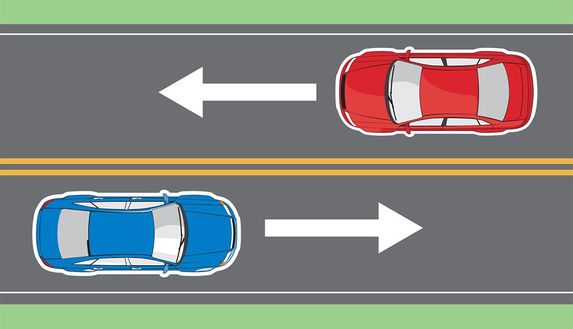 Gráfica de una carretera con dos autos transitando en sentido contrario