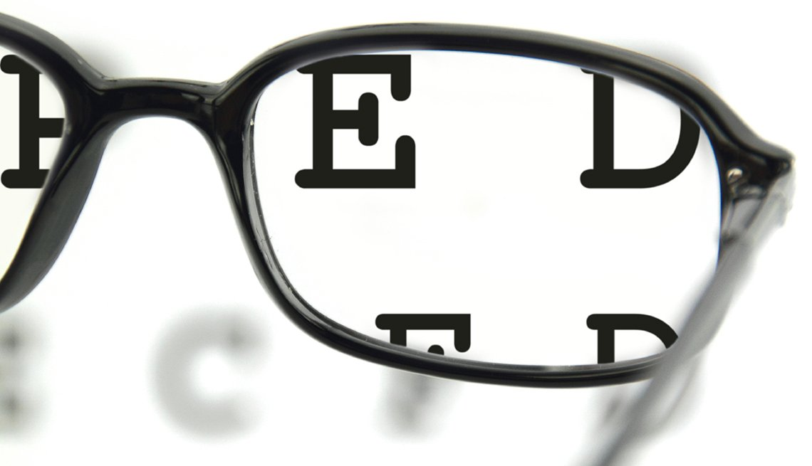 Eye glasses, eye exam chart, vision and safety, AARP Driving Resource Center