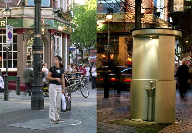 Three-man urinal mechanical urinal that pops up from undergound on the corner of Charing Cross Road in London - toilets around the world