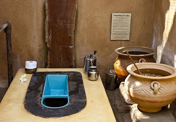 An eco composting squat toilet in Goa, India - toilets around the world