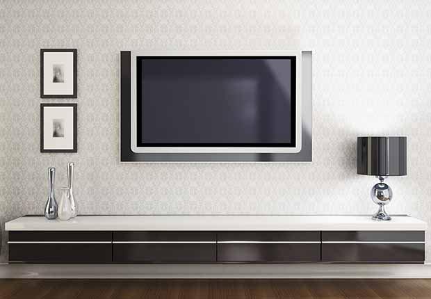Claves para reflejar el estilo minimalista en tu hogar - Televisor empotrado en la pared