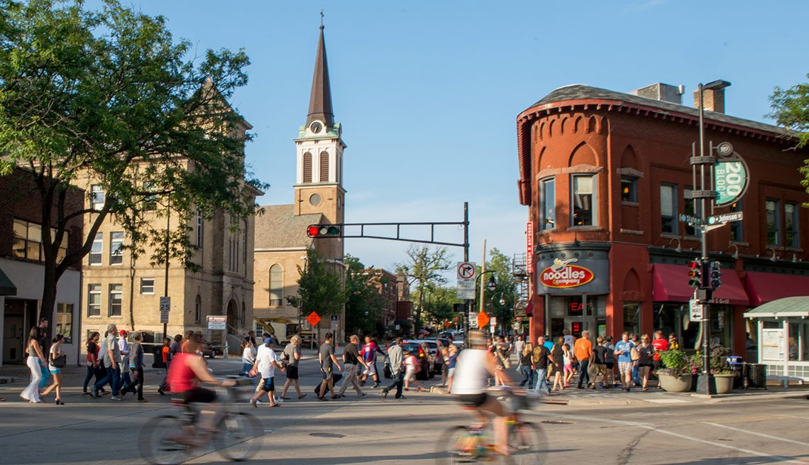 Busy city street, Livable Neighborhoods Mifflin West, Madison, Wisconsin