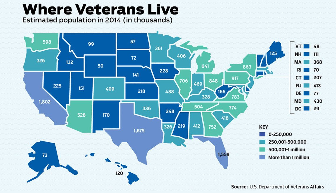 Where Veterans Live US map