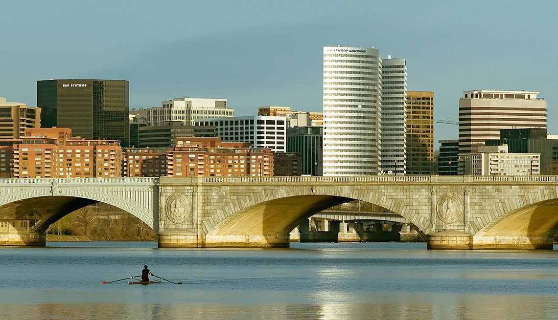 View Of Arlington Virginia And Potomac River, US Cities Rich In Hispanic Culture