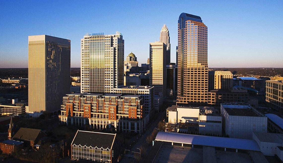 Imagen aérea del centro de Charlotte, Carolina del Norte